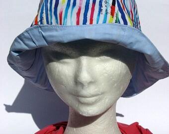summer hat cloche, blu-red,stripes