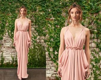 Blush Bridesmaid Dress, Grecian Gown, Grecian Bridesmaids Dress, Bridesmaids Dresses