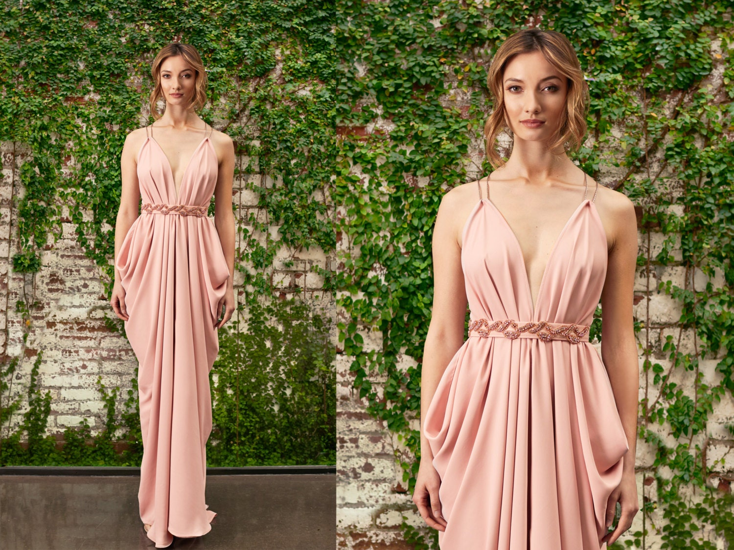 Blush Bridesmaid Dress Grecian Gown Grecian By LoisLondonNYC