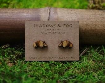 armadillo laser cut bamboo earrings