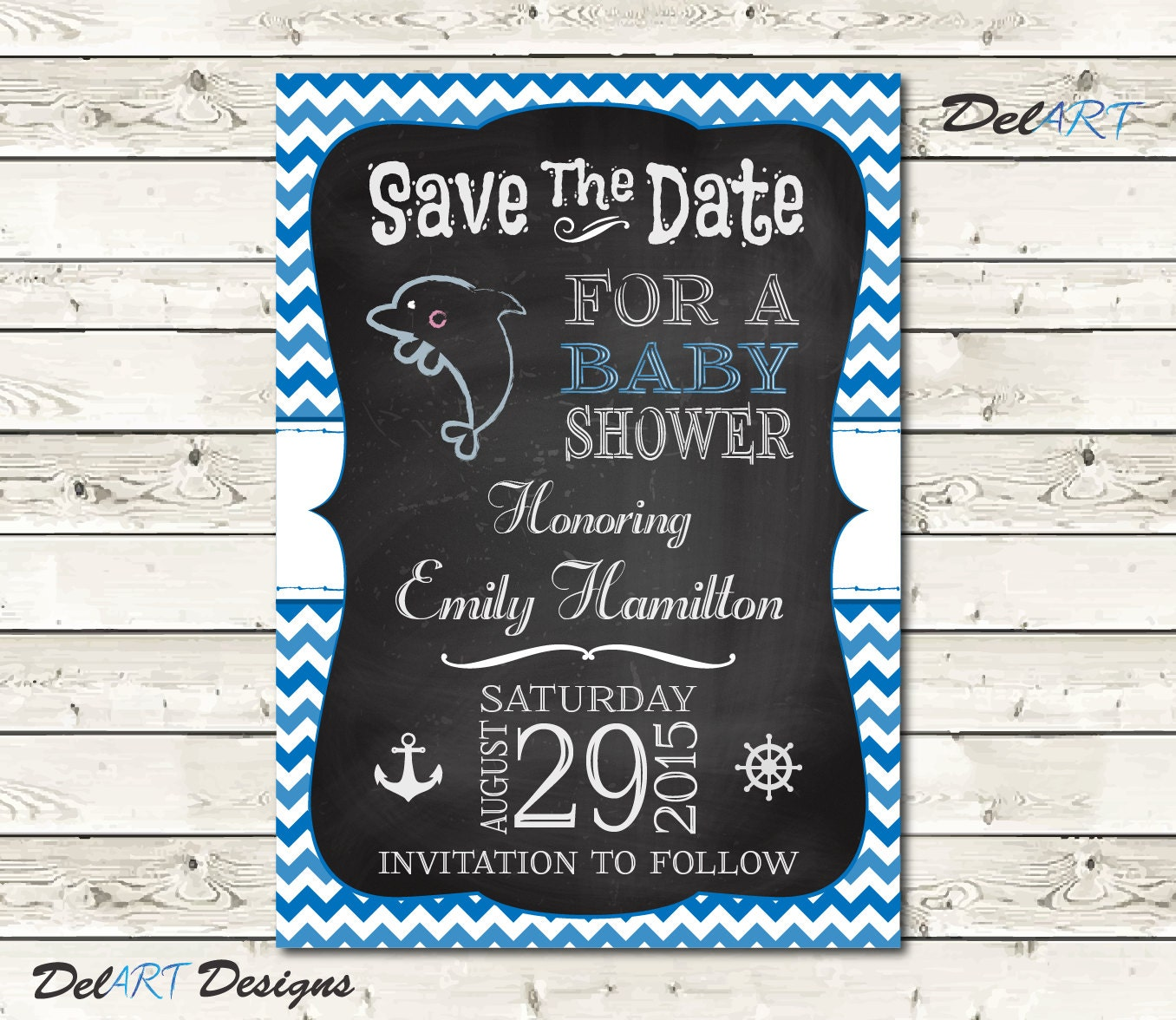 baby shower save the date chalkboard art nautical by delartdesigns