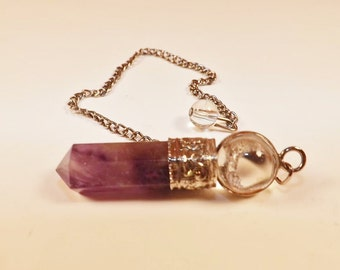 Amethyst 2 pc. Pendulum, Amethyst Point, Chain with Crystal Sphere, Supplies for Dowsing, Meditation, Metaphysical, US Supplier