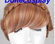 High Quality~~~Anna Cosplay Princess wig, Anna Coronation Cosplay wig anna adult wig