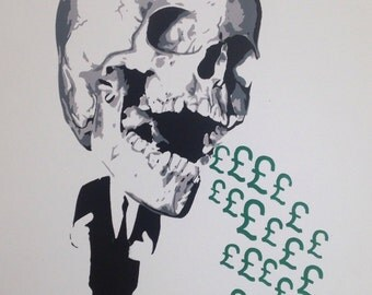 Sick pay. Spray paint stencil art. Made to order.