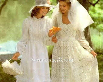 2 vintage wedding dresses PDF pattern , crocheted wedding dress and knitted wedding dress download pattern