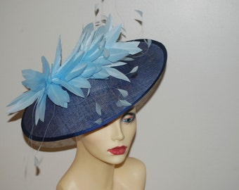 Light Navy & Pale Blue round saucer hatinator by Hats2go