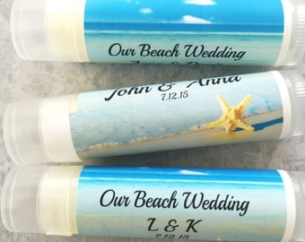 25Pc Wedding Party Favors/Beach Wedding Favors/Bridal Party Favor/Lip Balm-Custom Party Favors/Wedding Chapstick/Bridal Shower Favors/Beach