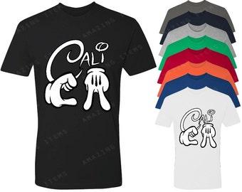 Mickey Hands Cali Men's T-shirt Cartoon Hands Shirts
