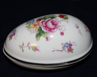 Vintage porcelain hand painted egg trinket container