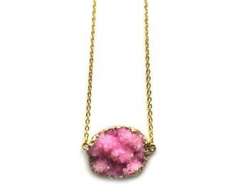 Pink druzy necklace