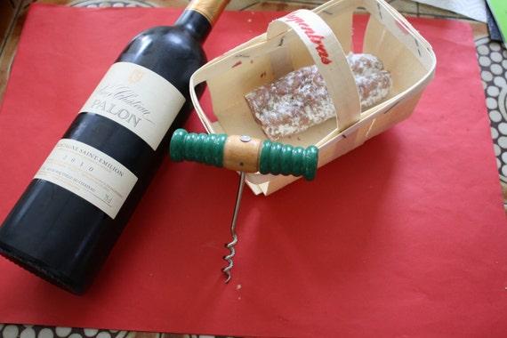 vintage french corkscrew bottle opener wood pullfire by lamarysa. Black Bedroom Furniture Sets. Home Design Ideas