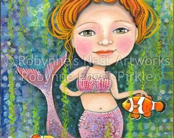 Maggie the Mermaid, mixed media collage, whimsical , redhead, mermaid