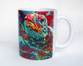 Sea Turtle Coffee Mug, Colorful Sea Tortoise Ceramic Coffee Mug