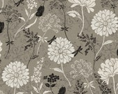 Jardin de Provence, Black White and taupe Fabric from Windham Fabrics.  French Style and Linen Look, Butterfly, Floral, Dragonfly