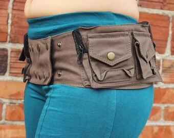 Steampunk Belt 13 Pocket (hip belt, pocket belt, utility belt, bandolier, hip bag, pouches, festival clothing, festival belt)