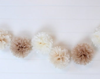 Tissue Flowers GARLAND - Desert Sand/Tan/Mocha - Pom Poms Garland - Party decoration - Nursery Decorations - Paper Pom Poms - Wedding set