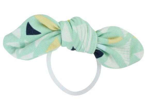 Mint Triangle Child Adult Knotted Hair Bow Ponytail Holder Knotted Bow Toddler or Adult Hair Accessories Triangle Hair Tie Triangle Hair Bow
