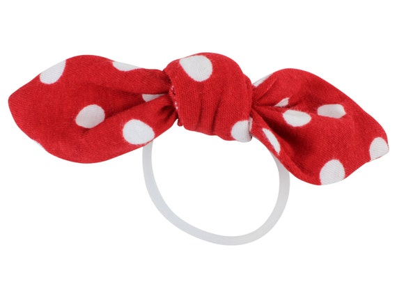 Red Polka Dot Child Adult Knotted Hair Bow Ponytail Holder Red White Knotted Bow Toddler or Adult Hair Accessories Polka Dot Hair Tie Bow