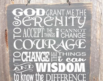 Serenity Prayer Sign - Sobriety Saying - Inspirational Sign - Recovery Sign