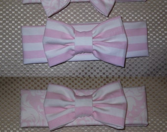 Jersey knit Stretch Bow Headband, Pink and White Stripes and Demask, Bow Head Wrap Jersey Headband, Ear Warmer - Choose Style