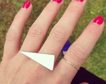 Statement triangle ring sterling silver minimal geometric