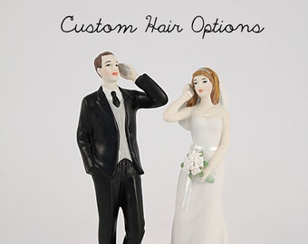 Cell Phone Fanatic Bride And Groom Wedding Cake Toppers - Personalized Wedding Cake Topper - Funny Wedding Cake Topper - Bride and Groom