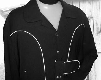 Cadzoots Handmade Retro Western Rockabilly Shirt Jacket 100% Rayon Gabardine USA Made