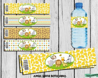 Jungle Safari Water Bottle Label, Jungle party supplies, Jungle Safari Birthday, Jungle Label, Decor Instant Download