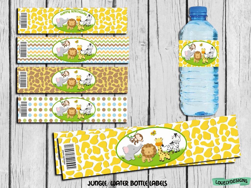 Jungle scrapbook ideas - Jungle Safari Water Bottle Label Jungle Party Supplies Jungle Safari Birthday Jungle Label Decor Instant Download