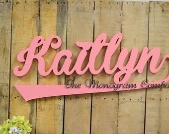small wooden script name word or phrase cursive letters perfect for a wreath accent wall childs room or nursery wooden wall art