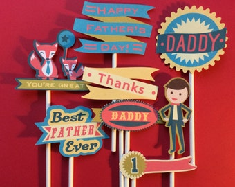 8 Father's Day cupcake toppers - Dad's day cupcake toppers, cupcake toppers for Father's Day