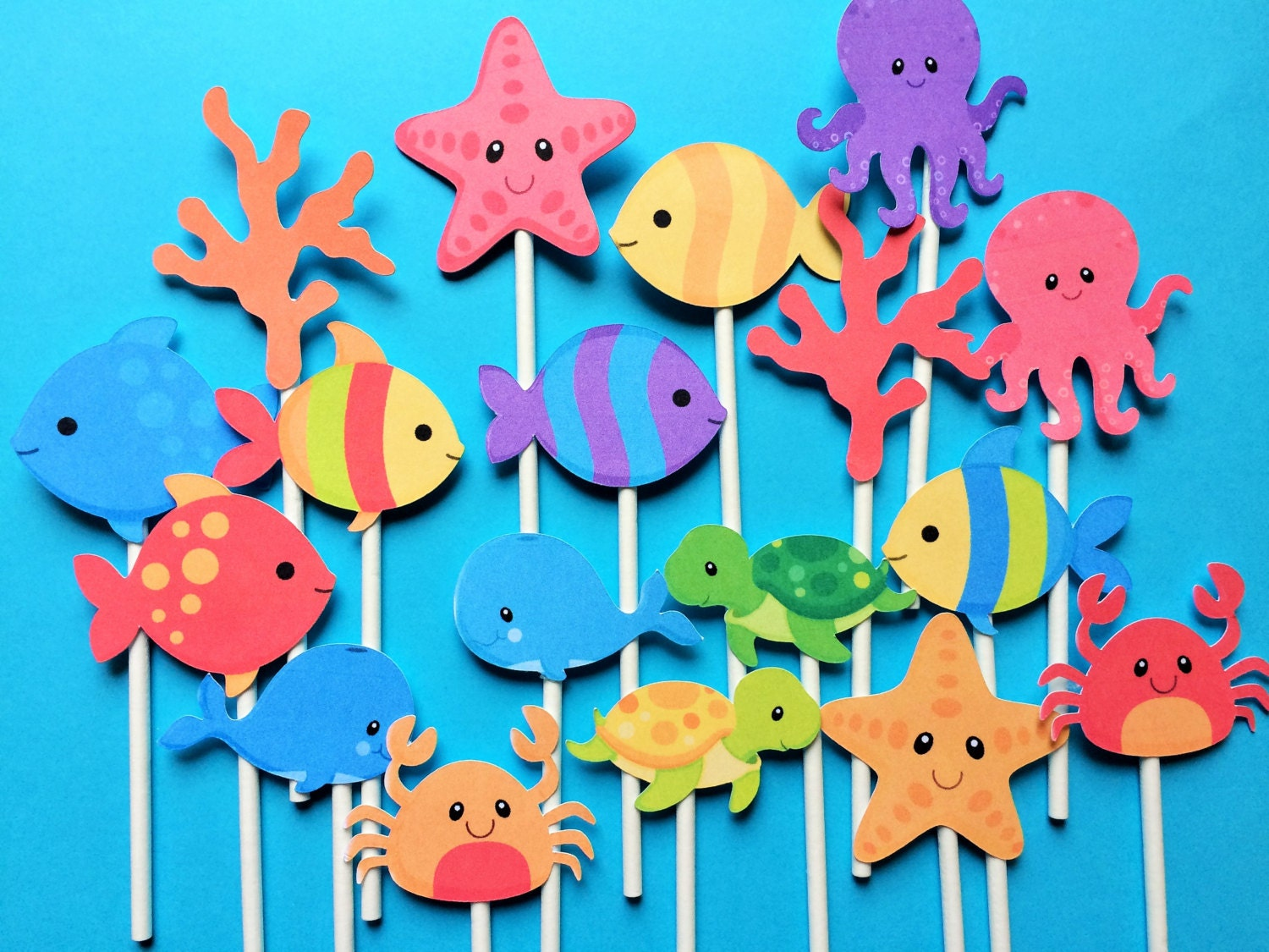 Sea Life Cupcake toppers 18 Ocean cupcake topper Under the