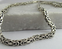 Men's Oxidised Sterling Silver Cubic Bali Byzantine Chain Necklace, Solid 925 Silver (56 cm, 50.4 grams)