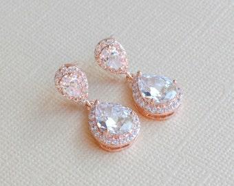 Rose Gold Earrings Teardrop Bridal Wedding Earrings