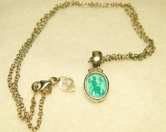 Sterling Silver Tagliamonte Green Murano Glass Pendant Necklace