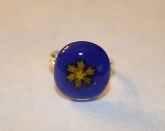 ON SALE - Handmade Fused Glass Ring - Glass Ring - Blue - Flower