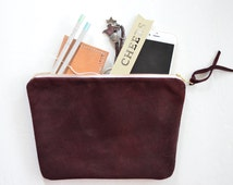 Maroon suede leather clutch, leather pouch, leather bag, red leather pouch, red suede pouch