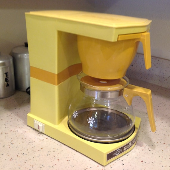Vintage Coffee Maker West Bend Quik-Drip Yellow Automatic Drip