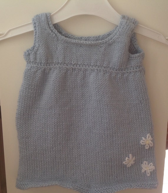 Knitted baby smock dress Pinafore dress powder blue daisy