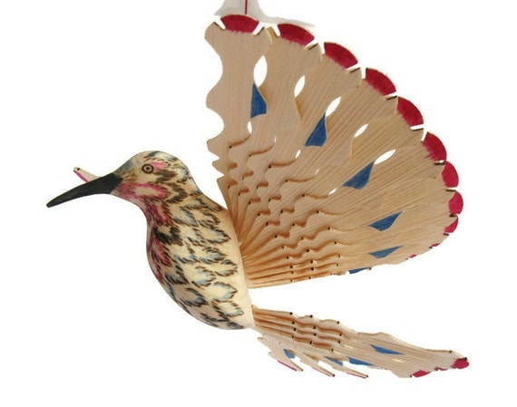 Hummingbird art wooden fan bird mobile handcarved hanging for Mobili wooden art