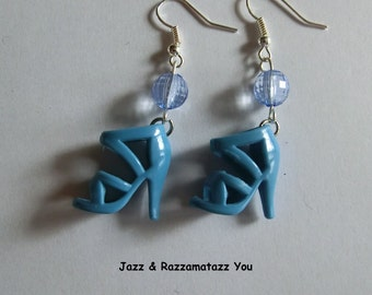 Handcrafted Turquoise Barbie Shoe Earrings