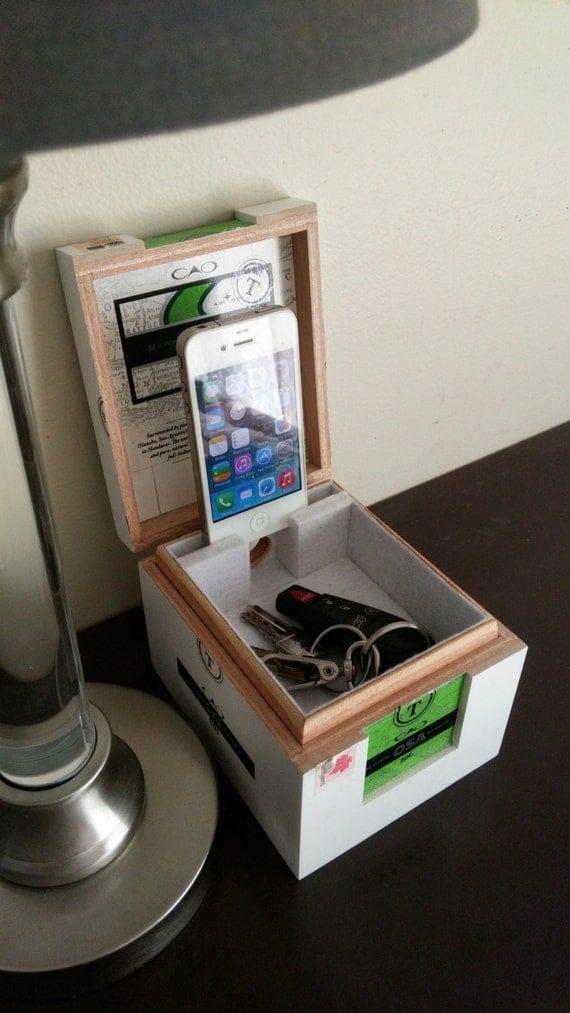 Cigar Box Organizer Valet Charging Station With Hidden