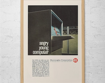VINTAGE COMPUTER AD - Retro Computer Ad - Classic Office Ad Mid-Century Poster Computer Geek Gift High Tec Lover Ad Vintage Geekery Wall Art