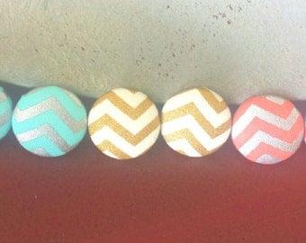 Chevron Print Fabric Button Earrings