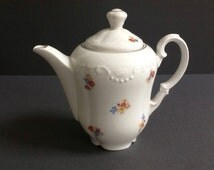 White Floral Teapot, Made in Germany, Gold Trim, Small Floral Decor