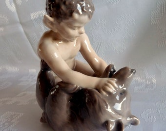 Vintage 1958 Royal Copenhagen - FAUN with BEAR Figurine #648 - Made in DENMARK .. Designed by Christian Thomsen