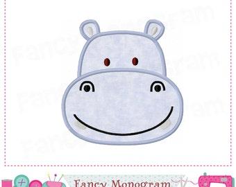 Hippo applique,Hippo embroidery,Hippo design,Hippo,Summer applique,Hippo head,Animal applique.-04