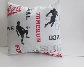 All Sports Pillow Cover, Crimson/Black On Gray Sports  Pillow Cover
