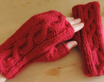Hand Knit Fingerless Mitts, Wrist Warmers – SHORT (6.5in, 16.5cm) - Many Colours Available - Made to Order