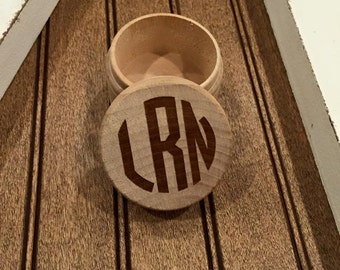 Monogram Circle Letter Wood Box- Laser Engraved Personalized